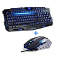 Cor Tri LED Retroiluminado Gaming Keyboard Professional Gaming Keyboard Mouse sem fio Combo 6 Cores Backlight Gaming Mouse para PC Desktop