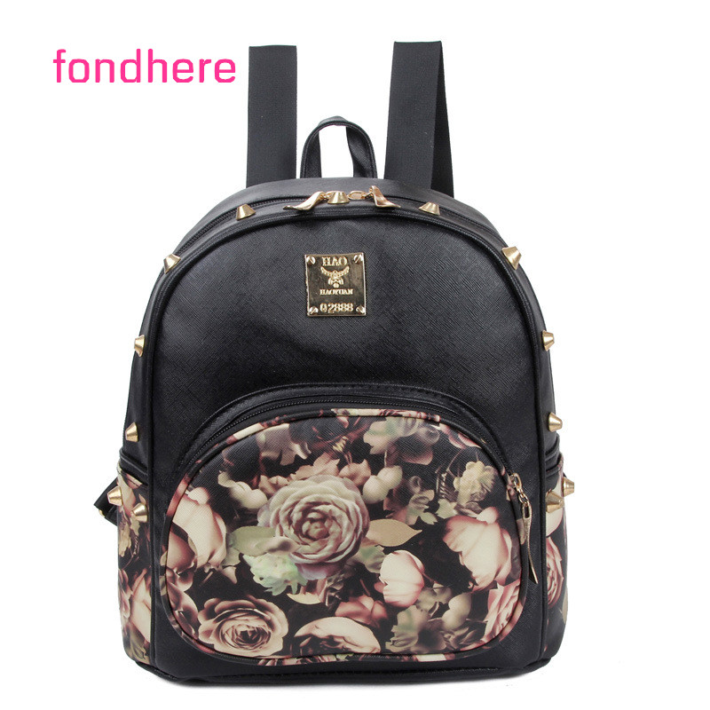 fondhere 2017 Women Beatiful Flowers Backpack Cute Bag PU Leather Fashion Shoulder Bag Travel Back Pack Girls Backpack women backpack women bag leather bag shoulder bag pu travel backpack