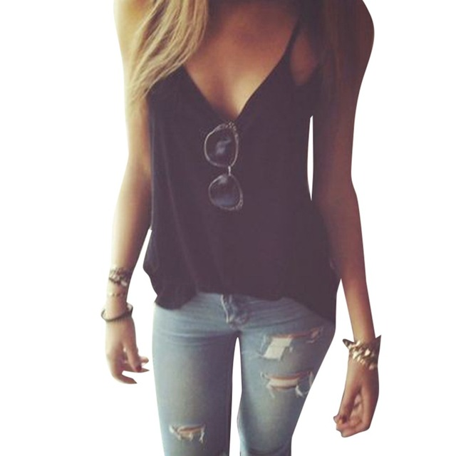 30bad2440ad9 S-XL Women Cotton Black V-neck Cut Out Spaghetti Strap Sexy Camis Summer  Vest Tops Casual Tank Top Base T-Shirt Roupas Femininas