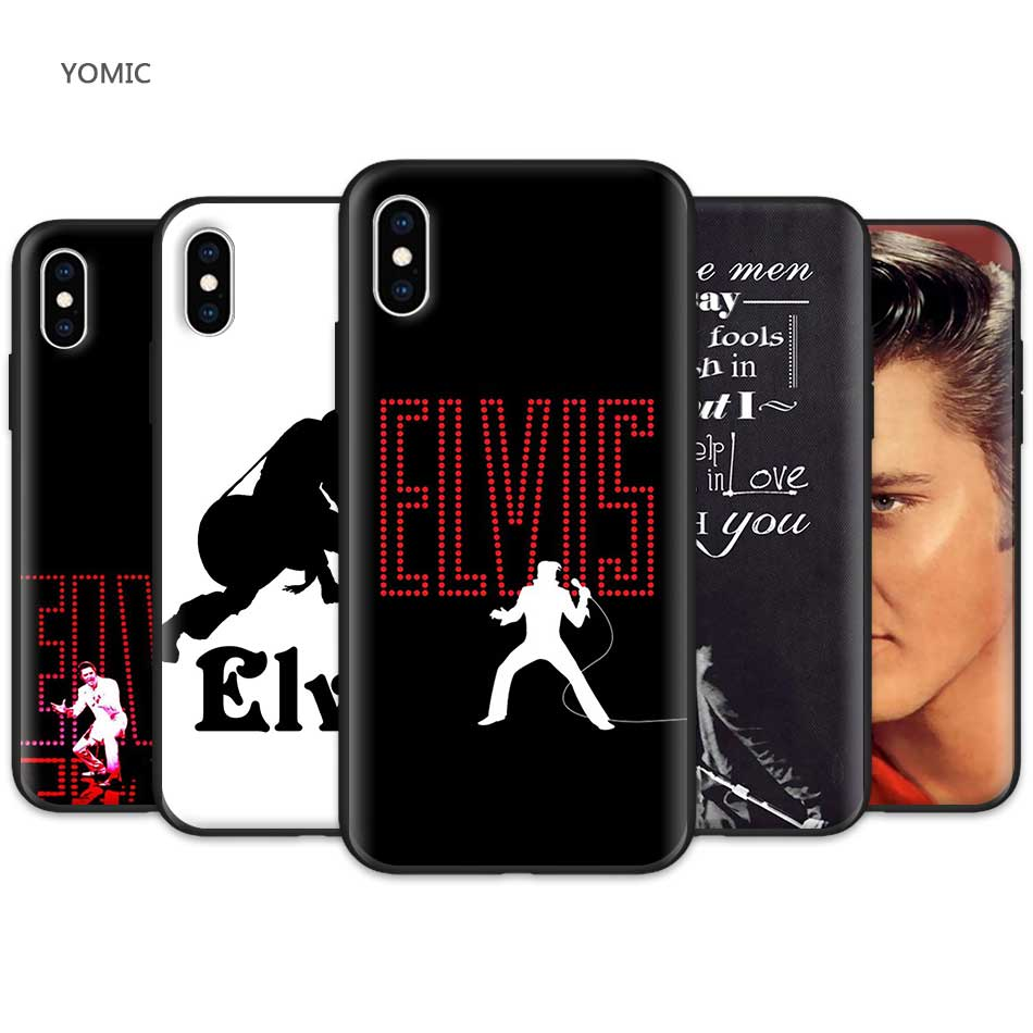 Black Case for Apple iPhone XR 7 8 6 6S Plus X XS MAX 5 5S SE Silicone Soft TPU Mobile Phone Case Cover Elvis Presley