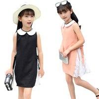 Baby Girls Dresses Kids Sleeveless Lace Patchwork Dresses For Girls Children Straight Dress Vestidos Infantil 4