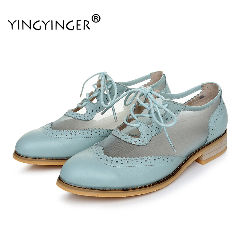 2017 Summer Woman's Chaussure Sapato Feminino Hollow Genuine Leather Ladies Flat Platform Creepers loafers Brogue Shoes Woman summer women shoes casual cutouts lace canvas shoes hollow floral breathable platform flat shoe sapato feminino lace sandals