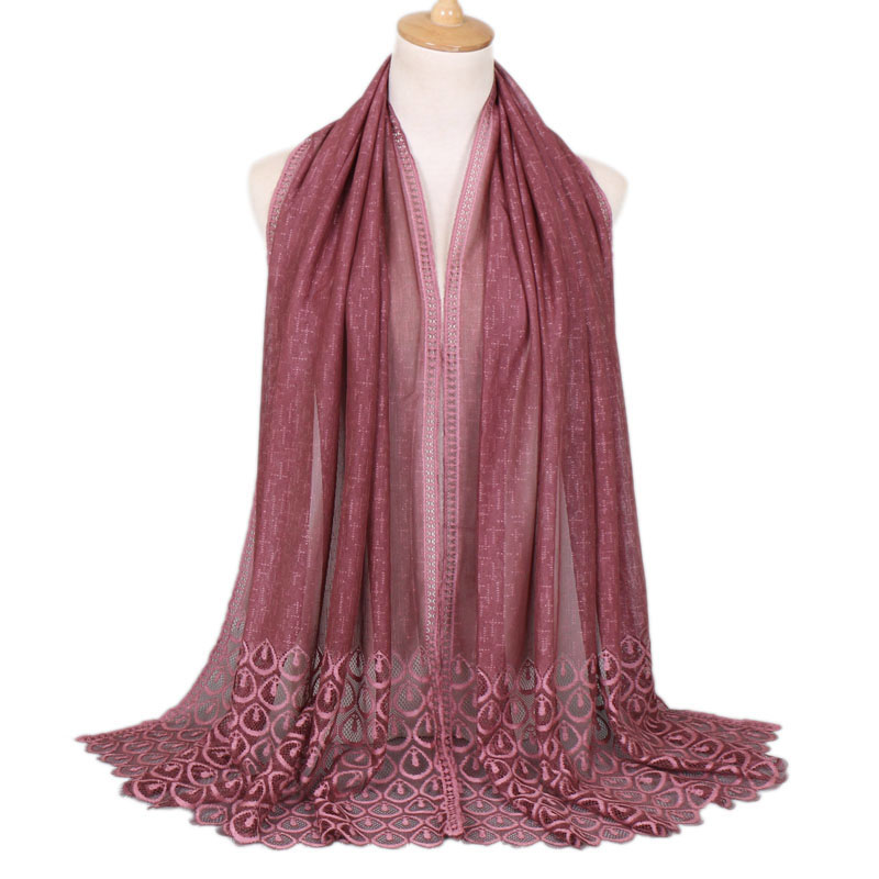Women flower lace scarf polyester muslim hijab shawls wraps headband fashion autumn scarves scarf 11 color
