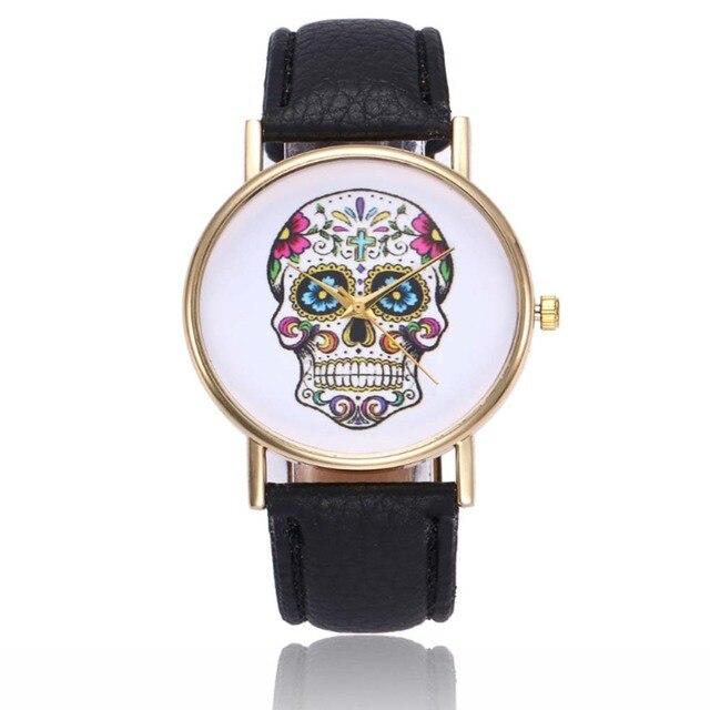 Best Popular Fashion leather beautiful Style Skull Quartz Watch Women Ladies Dre