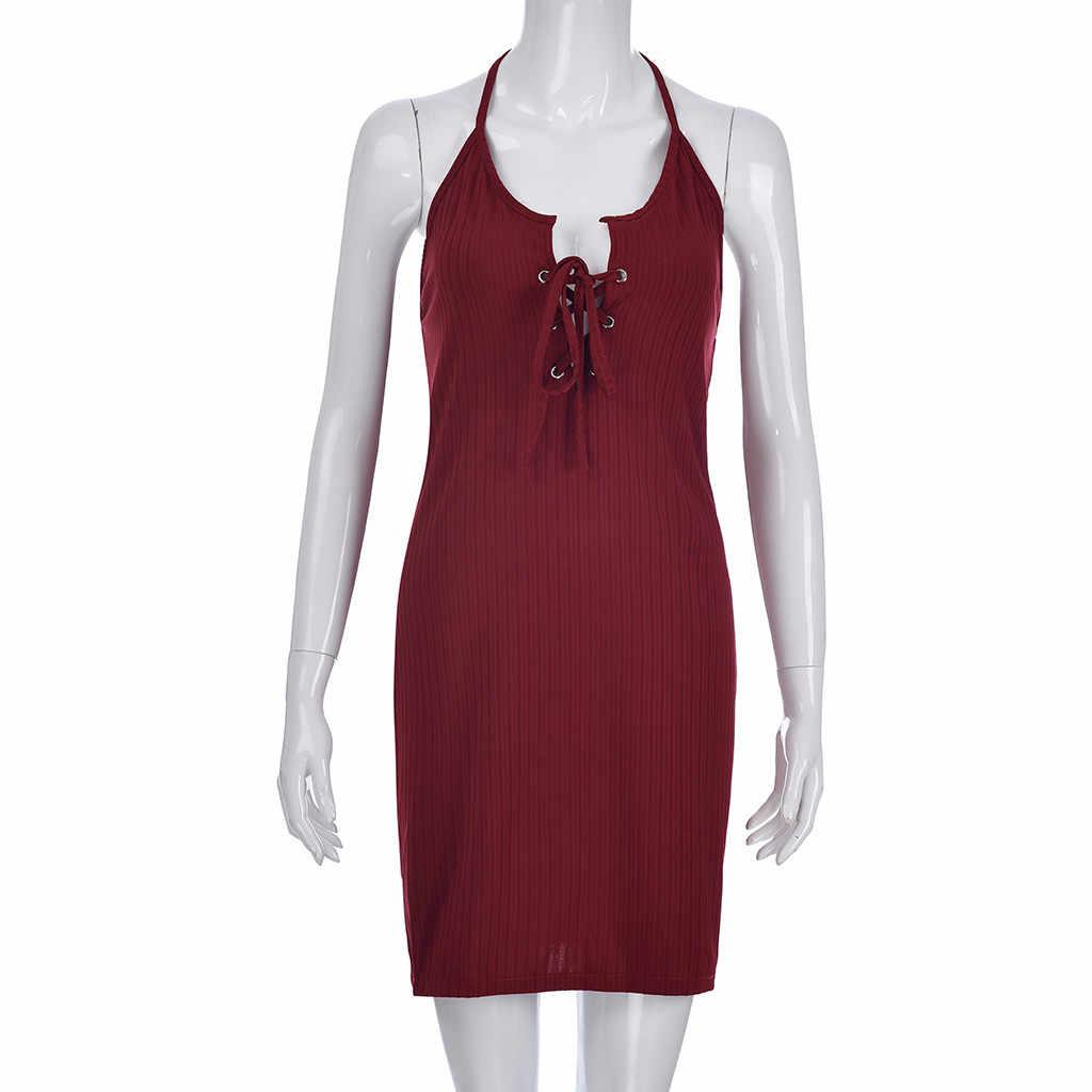 JAYCOSIN 2019 новое летнее женское платье сексуальные стильные Холтер Твердые эротические Клубные Спагетти ремни для бандажа frenuluum вечерние мини 9032147