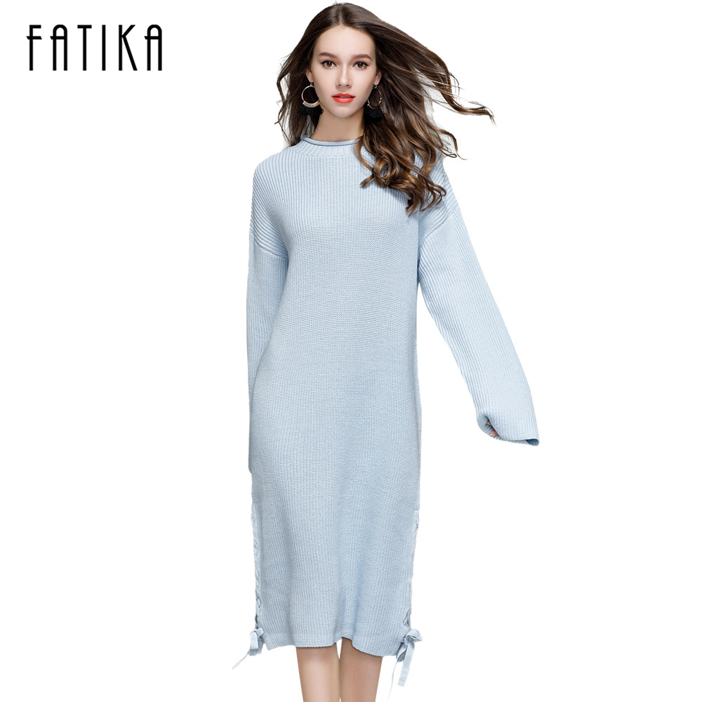 FATIKA Women Knitted Dress Autumn Winter 2017 Casual O-Neck Solid Side Slit Lace-up Full Sleeve Loose Midi Sweater Dresses