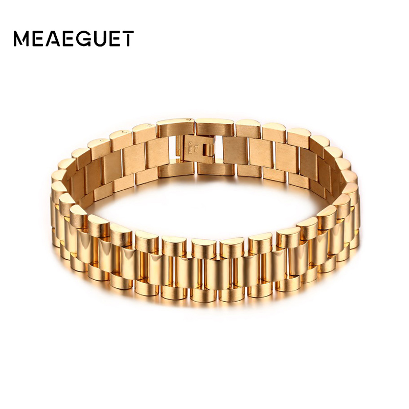 Meaeguet 15mm Wide Luxury Men Watch Band Bracelet Gold-Color Stainless Steel Strap Links Cuff Bangles Jewelry Gift Length 22CM u7 stainless steel bracelet men jewelry wholesale gold color mens bracelets fashion watch band strap bracelets bangles h648