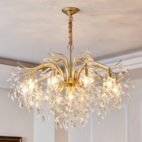 American Classic Crystal chandelier lighting Luxury Gold Lustres suspended led chandelier kitchen lighting fixture For Hotel Bar