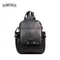SUWERER new Genuine Leather backpack women luxury backpack women bags designer bags women backpack fashion bag