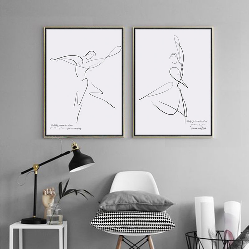Dancing Painting Modern Minimalistic Line Art Nordic Poster Printing Minimalism Home Decor 5 piece canvas art for living room