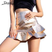 Women Sexy Pu Faux Leather Ruffles Trumpet Skirts Fashion High Waist Champagne Color Mini Pleated Skirt