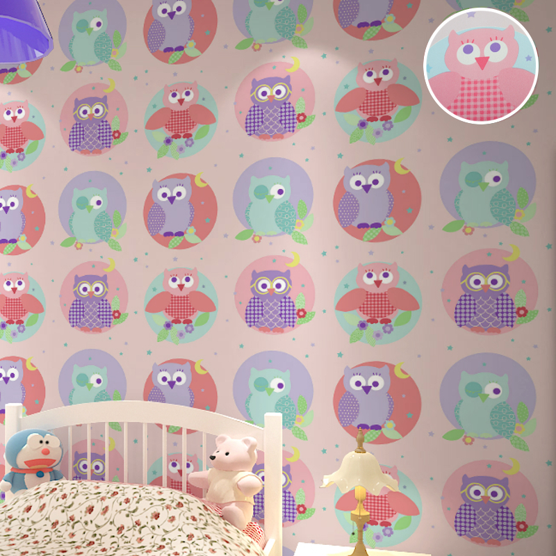 Pink Cool Cartoon Kids Wallpaper With Colorful Owl Birds Pattern Wall Paper for Children's Room Background colorful cartoon forest pattern removeable wall stickers