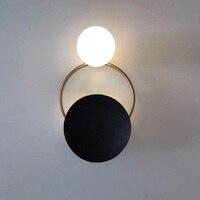 Постмодерн Nordic Роскошные черная тарелка Утюг золото медь кольцо Стекло мяч комбинации бра свет прикроватные настенный ночник книги по иску