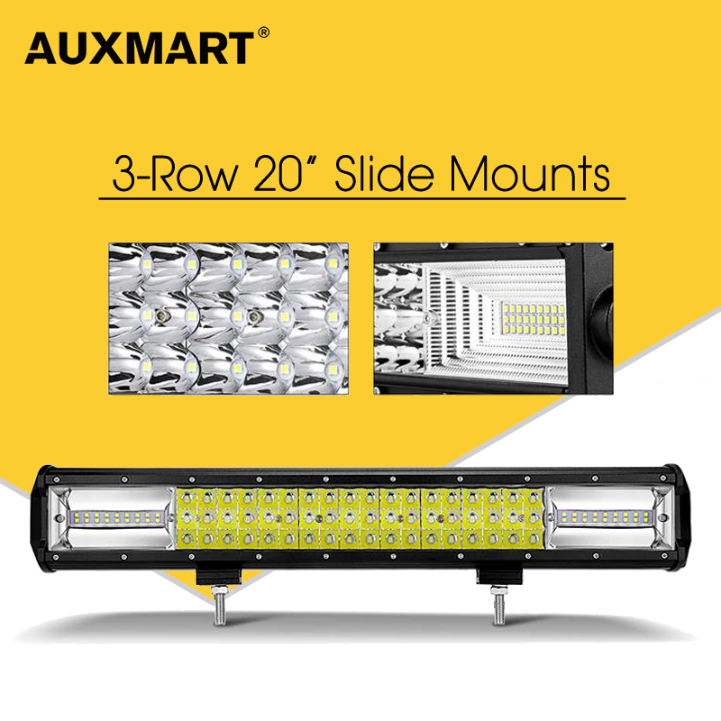 Auxmart 20 Tri-Row Led Chips Spot & Flood Combo Beam Led Bar Offroad Led Work Light Bar for Truck Trailer 4x4 4WD ATV Boat Lamp partol 240w 22 tri row led work light bar offroad led bar spot flood combo beam truck suv atv 4x4 4wd driving lamp 12v 24v