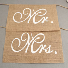 Mr. & Mrs. Burlap Chair Banner Set Khaki Chair Sign Garland Rustic Wedding Party Decoration DIY(China)