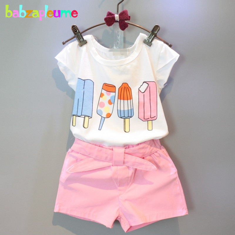 2016 Summer Toddler Girl Outfits Children Clothing Ice-Cream Brands Top+Shorts 2pcs Baby Girls set Kids Clothes 0-7Years BC1142 fashion kids baby girl dress clothes grey sweater top with dresses costume cotton children clothing girls set 2 pcs 2 7 years