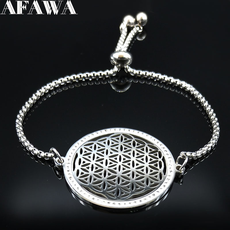 2019 Fashion Flower Of Life Crystal Stainless Steel Bracelet Women Silver Color Bracelets Bangles Jewelry Pulseras Mujer B18451