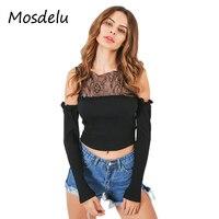 Mosdelu Off The Shoulder Tops For Women Ruffle Casual Women Crop Top Long Sleeve Cotton Short