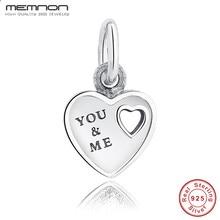 Memnon Gift You & Me HEART DANGLE Romantic Lovely Warm Charms Fit Original Bracelet 925 Sterling Silver DIY Beads PAS135