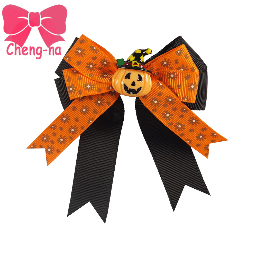 Ha hair accessories for sale - Hot Sale 3 Girls Halloween Hair Bow With Clips Kids Cute Print Ribbon Bows Top
