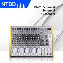 Ntbd mixer de áudio profissional, desempenho de palco, hip hop, áudio profissional de estrada 6/8/12, com microfone sem fio, profissional