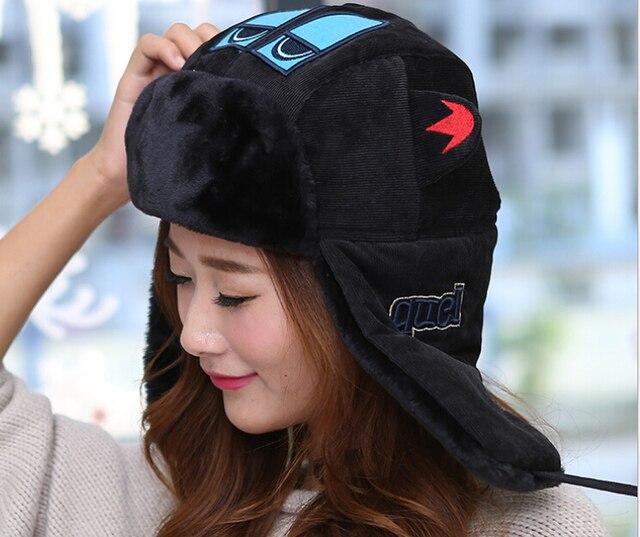 Открытый мода езда на лыжах мочка уха крышка женщин зимы утолщенной халяву уха лэй фэн шляпа россии Hat бомбардировщик Hat