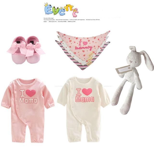 2017new ventas calientes 7 piezas juegos del mameluco del bebé niñas princesa rosa traje conjunto de moda de cumpleaños del niño recién nacido de una sola pieza de prendas de vestir