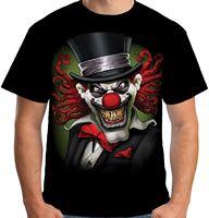 Velocitee Herren Crazy Clown T-shirt Scary Horror Joker Narr böse Biker New Fashion Mens Kurzarm T-Shirt Baumwolle T Shirts