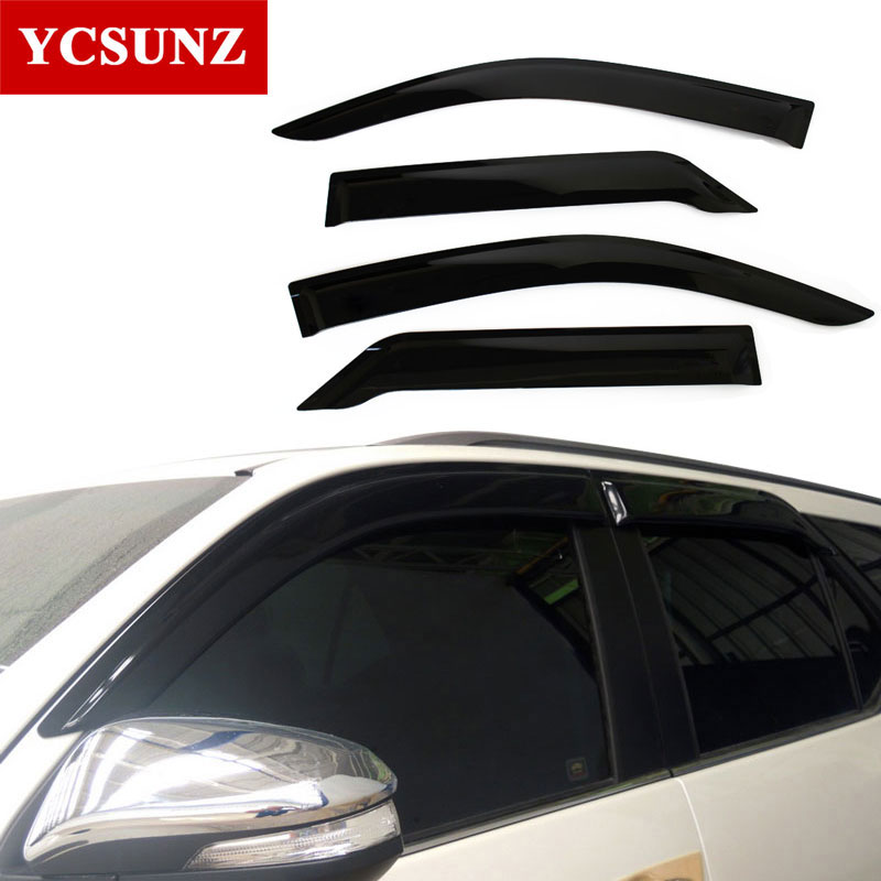 2016-2017 Car Window Visor For Toyota fortuner hilux sw4 Deflectors Guards For toyota fortuner hilux sw4 2017 Vent Visor Ycsunz auto rain shield window visor car window deflector sun visor covers stickers fit for toyota noah voxy 2014 pc 4pcs set