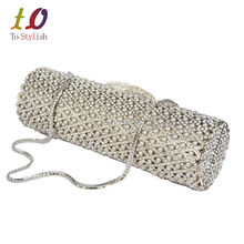 Elegantes Besetzt Kristall Perle Luxus Abendtasche Zylinderform Silber Cocktail Bankett Tasche für Damen Hochzeit Handtasche 88220