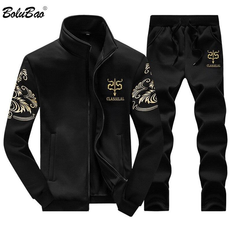 BOLUBAO 2018 nuevo conjunto de hombres de moda Otoño traje deportivo  sudadera + pantalones de chándal 7d2e7ca59f5