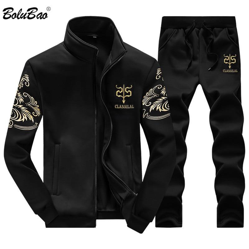 BOLUBAO 2018 Brand New Men Set Fashion Autumn Sporting Suit Sweatshirt +Sweatpants 2 Pieces Mens Clothing Male Tracksuit Sets
