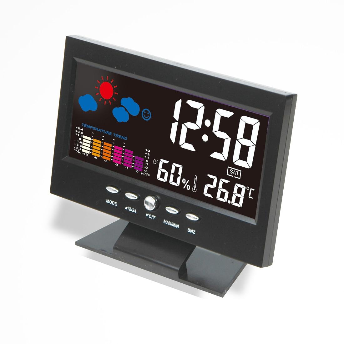 New Digital Thermometer Hygrometer weather station Alarm Clock temperature gauge Colorfu ...