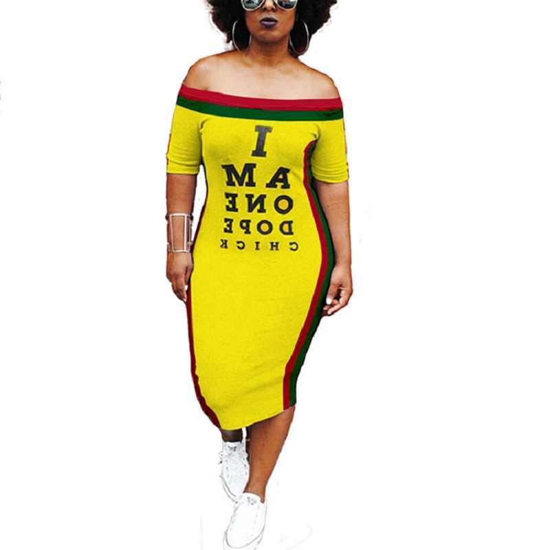 Модные желтое повязное платье Bodycon полосатый мини платье Сексуальная Клубная одежда Slash средства ухода за кожей Шеи для женщин Письмо печати миди
