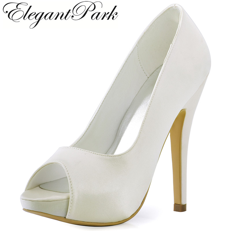 HP1561I White Ivory Women Peep Toe High Heel Platform clips Pumps Satin Bride Bridesmaids Evening Dress Wedding Bridal Shoes hp1544i white ivory peep toe women wedding pumps ankle strap crystal buckle bride bridesmaids high heel satin bridal prom shoes