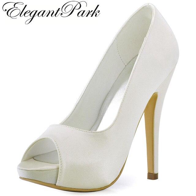 bf4b1903fe9f HP1561I White Ivory Women Peep Toe High Heel Platform clips Pumps Satin  Bride Bridesmaids Evening Dress Wedding Bridal Shoes