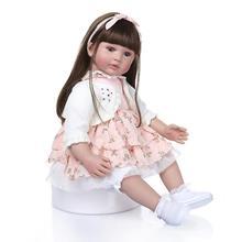 24inch 60cm Boneca Reborn Soft Silicone Vinyl Long Hair Doll Soft Silicone Reborn Baby Doll Lifelike Bebe Reborn Doll Brinquedos недорого