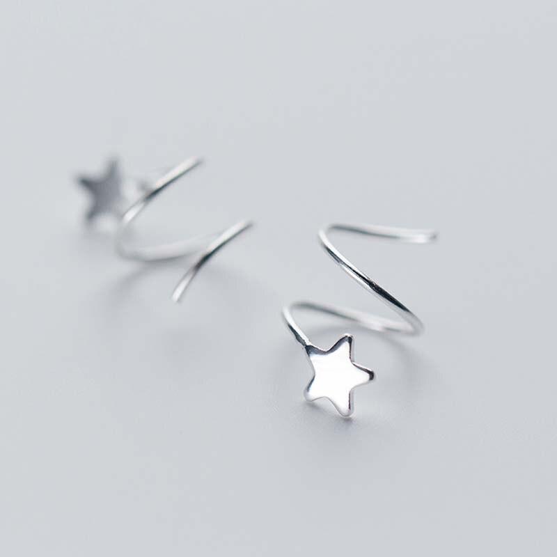 5f48b0769a8a Estrella de moda pendiente de Plata de Ley 925 pendientes de plata para  mujer pentagrama oreja Piercing pequeño pendientes plata-de plata-joyería de
