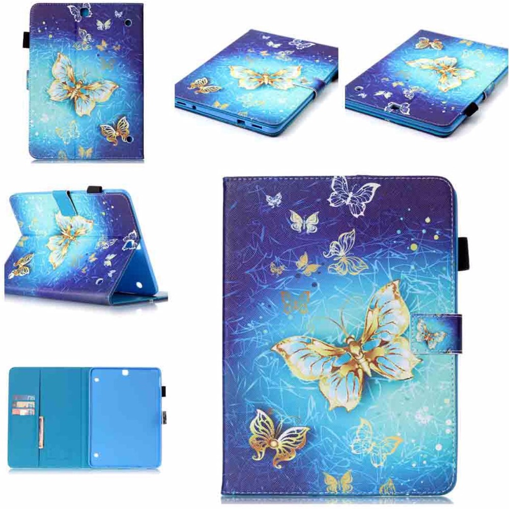 For Galaxy Tab S2 9.7 Case Butterfly Print Folio Flip Stand Wallet Cover Case for Samsung Galaxy Tab S2 9.7 Tablet SM-T810/T815 luxury pu leather cover case for samsung galaxy tab s2 9 7 t810 t815 sm t810 flip stand for samsung galaxy s2 t815 cases kf469a