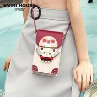 EMINI HOUSE Indian Style Panelled Phone Bag Split Leather Women Shoulder Bags Crossbody Bags For Women Mini Messenger Bag