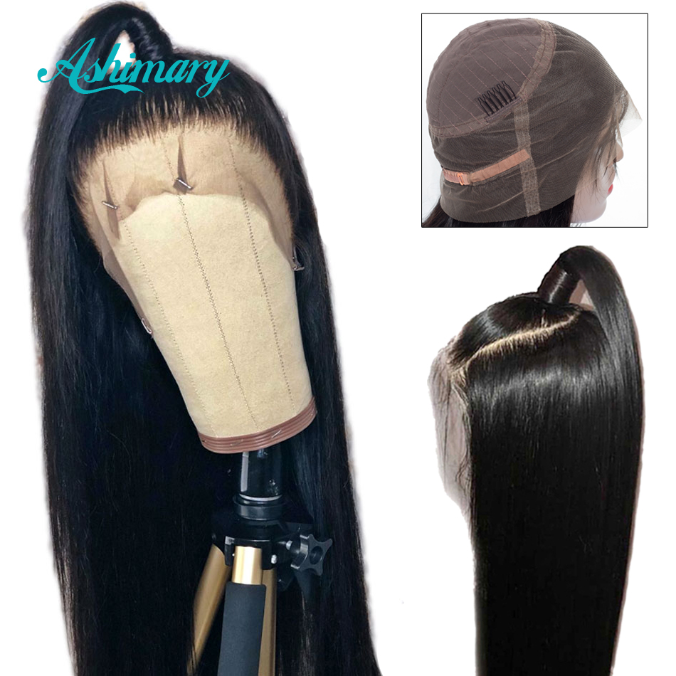 Ashimary Wig Remy Lace Frontal Human-Hair Pre-Plucked Straight Black-Women Brazilian