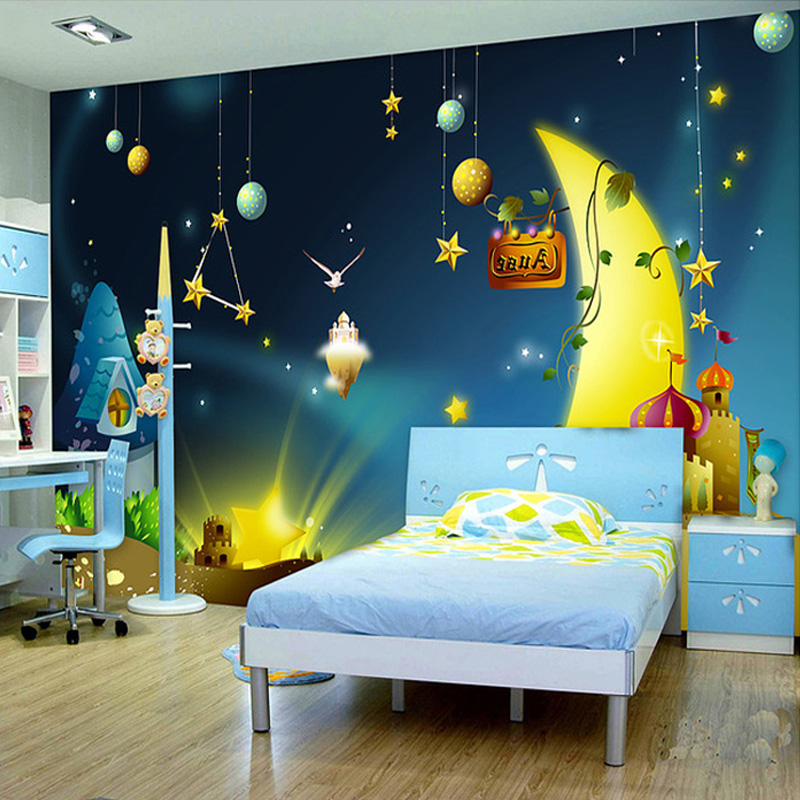 Custom 3D Mural Wallpaper Cartoon Moon Starry Sky