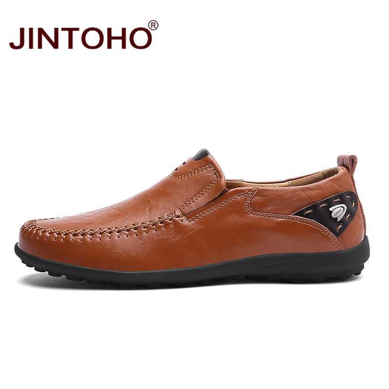 JINTOHO 2019 Mannen Lederen Schoenen Merk Mens Fashion Schoenen Mannen Casual Leren Schoenen Echt Leer Mannen Loafers Bootschoenen