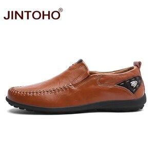 Image 4 - JINTOHO 2019 รองเท้าหนังผู้ชายแบรนด์ Mens แฟชั่นรองเท้าผู้ชายรองเท้าสบายๆหนังรองเท้าหนังแท้รองเท้าหนังผู้ชาย Loafers เรือรองเท้า