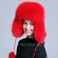 Nowy Rosja kapelusz futra Zima Chłopiec Dziewczyna Istny Fox Fur Hat rodzic-dziecko dzieci Nauszniki ciepłe dzieci Czapkę kobiety Ucha fox fur Hat cap