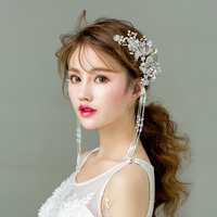 TANGTANG New Fashion Handmade Luxury Bridal Jewelry Hairwear Flower Pearl Hair Comb For Wedding Party Bridal Jewelry Sets