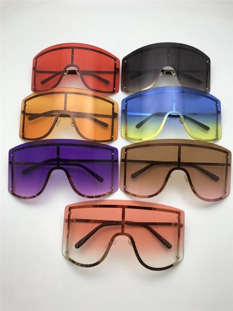 Fashion Oversized Blue Yellow Gradient Sunglasses Women 2019 Luxulry Brand Designer Red Rimless Metal Female Sun Glasses Shades 5