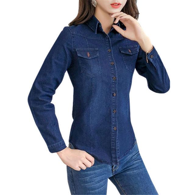 Осень весна хлопок женские джинсовые блузки модные рубашки с длинными рукавами для женщин топы корректирующие джинсы для блузка Женский повседневное
