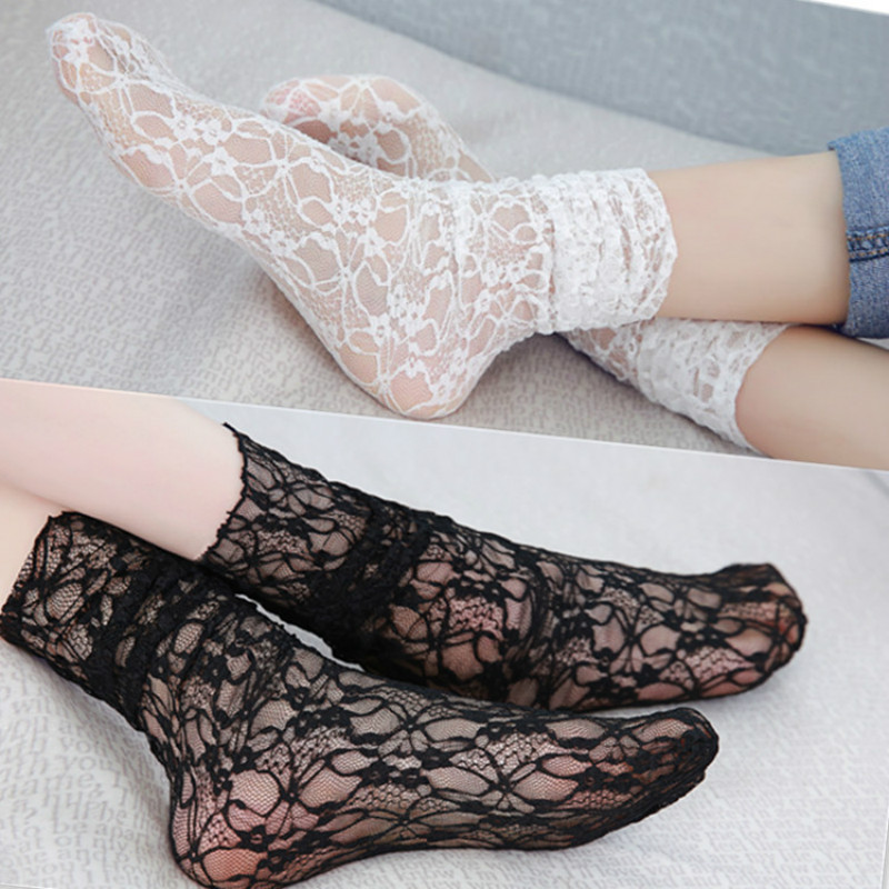 Summer Fashion Lace Socks Women Sexy Vintage Ankle Kawaii Socks for Girls Transparent Mesh Thin Socks