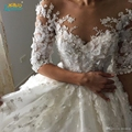 Ball gown wedding dresses 2017 vintage lace half sleeves 3D flower Wedding gowns robes de mariee gelinlik 2017 vestidos de novia
